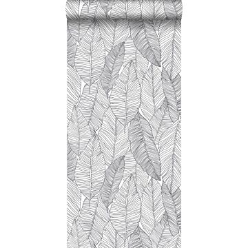 wallpaper pen drawn leaves black and white