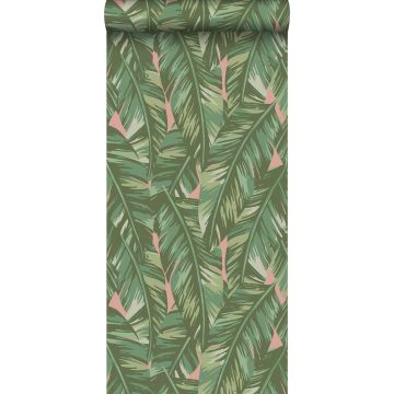 wallpaper banana leaves greyed olive green and peach pink