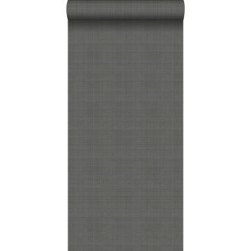 wallpaper linen look dark gray