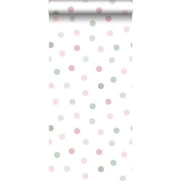 wallpaper dots pink, green and gray