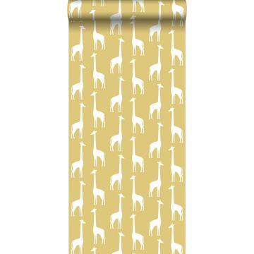 wallpaper giraffes mustard