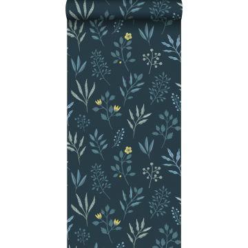 wallpaper floral pattern in Scandinavian style dark blue and mustard