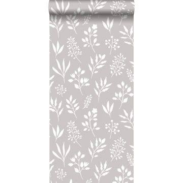 wallpaper floral pattern in Scandinavian style warm gray and white