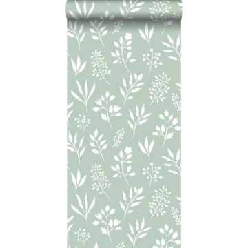 wallpaper floral pattern in Scandinavian style mint green and white