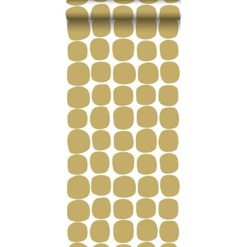 wallpaper graphic motif mustard and white