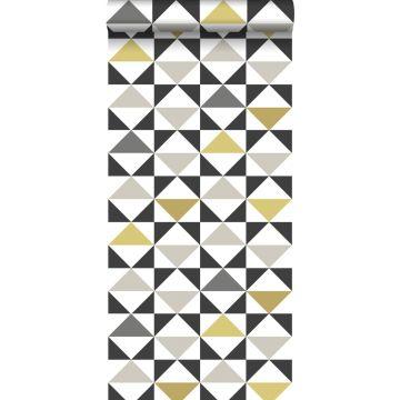 wallpaper graphic triangles white, black, gray and mustard