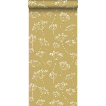 wallpaper umbels mustard and white
