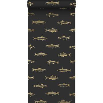 wallpaper pen drawing fish black and gold