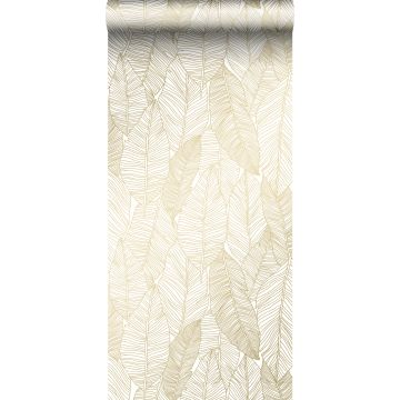 wallpaper pen drawn leaves white and gold