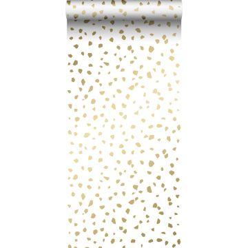 wallpaper terrazzo white and gold