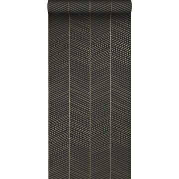 wallpaper herring bone pattern black and gold