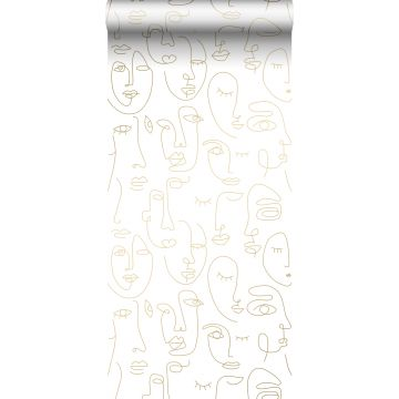 wallpaper faces white and light shiny gold