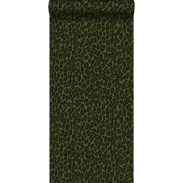 wallpaper leopard skin dark green