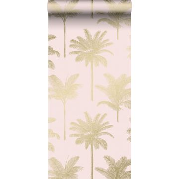 wallpaper palm trees soft pink and gold