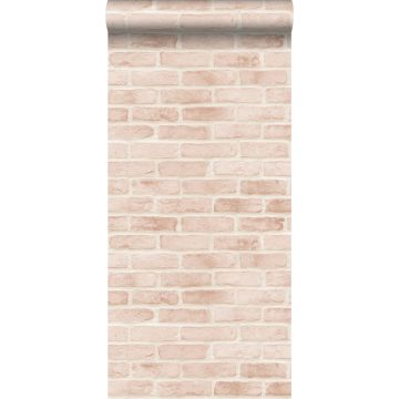 wallpaper bricks light peach pink