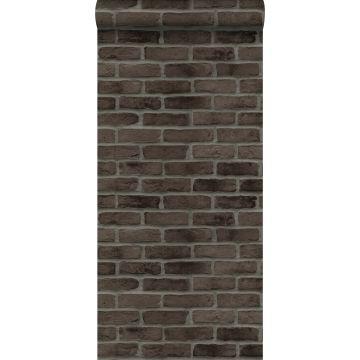 wallpaper bricks dark brown