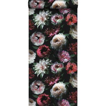 wallpaper flowers pink, black and dark green