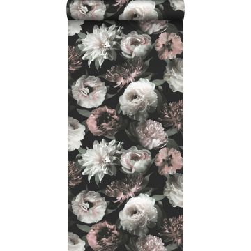 wallpaper flowers black, white and soft pink