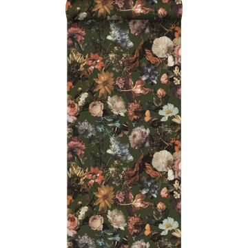 wallpaper flowers greyed olive green