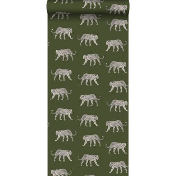 wallpaper panters greyed olive green