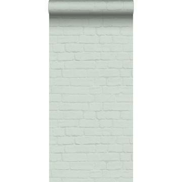wallpaper bricks mint green