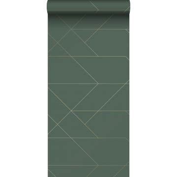 wallpaper graphic lines dark green and gold