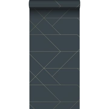 wallpaper graphic lines dark blue and gold