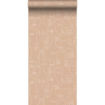 wallpaper faces peach pink and white