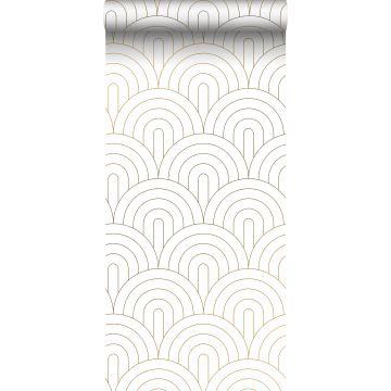 wallpaper art deco motif white and gold