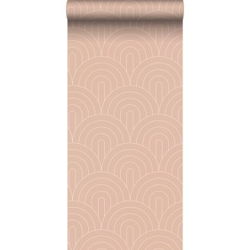 wallpaper art deco motif peach pink