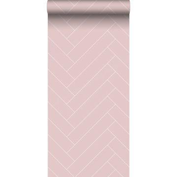 wallpaper herring bone pattern antique pink and white