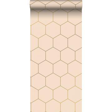 wallpaper hexagon light peach pink