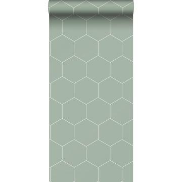 wallpaper hexagon grayish green and white