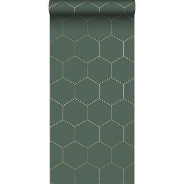wallpaper hexagon dark green and gold