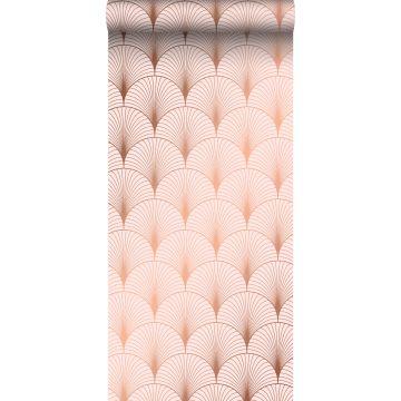 wallpaper art deco motif soft pink and rose gold