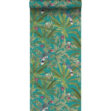 wallpaper tropical jungle leaves and birds of paradise teal and jungle green