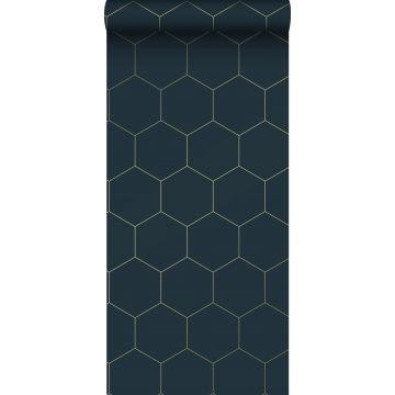 wallpaper hexagon dark blue and gold
