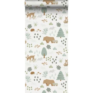 wallpaper forest with forest animals white, green and beige