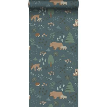 wallpaper forest with forest animals grayed vintage blue, green and beige