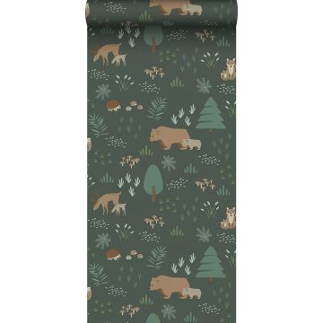 wallpaper forest with forest animals dark green and beige