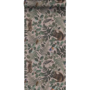 wallpaper forest animals antique pink, green and brown
