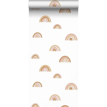 wallpaper rainbows terracotta, soft pink and beige