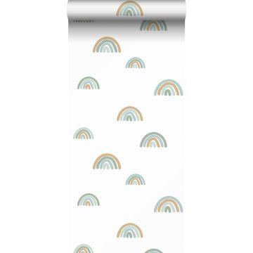 wallpaper rainbows grayed vintage blue, light blue and beige