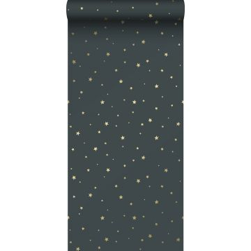 wallpaper little stars grayed vintage blue and gold