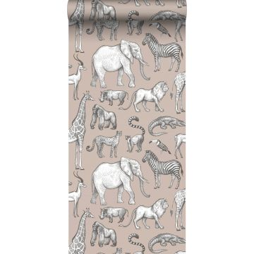 wallpaper jungle animals antique pink and gray