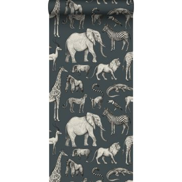 wallpaper jungle animals grayed vintage blue and gray