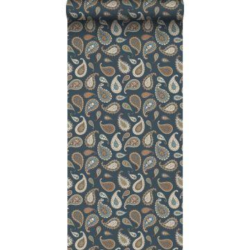 wallpaper paisleys dark blue, beige and mint green