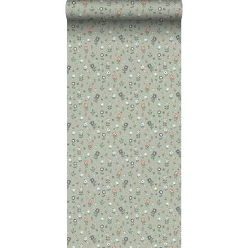 wallpaper flowers grayish green