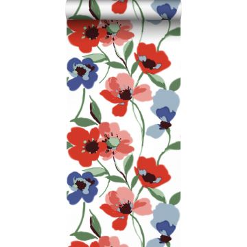 wallpaper poppies red, blue and green