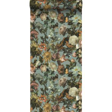 wallpaper flowers grayed vintage blue